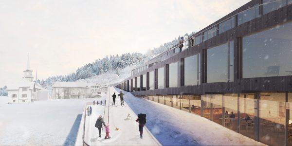 Audemars piguet hotel des horlogers big dezeen 2364 col1 600x300 - Este hotel cuenta con un pista de esquí en el techo y se desarrollará en Suiza por Bjarke Ingels Group
