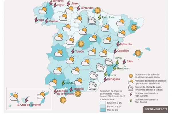 Mapa del tiempo urbanístico 600x397 - Situación del mercado del suelo en España