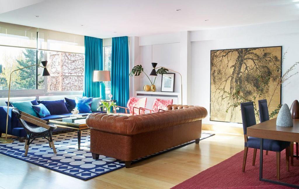 Melian Randolph salón 1 1024x647 - Precioso piso con intensos toques de estilo y color en Chamartín, Madrid