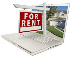 For Rent Sign on Laptop