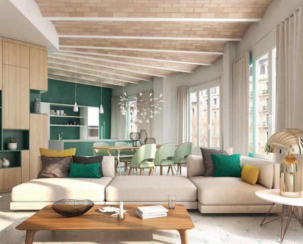 apt6 sala v07 1 600x484 - La unión de historia y lujo en pleno centro de Barcelona