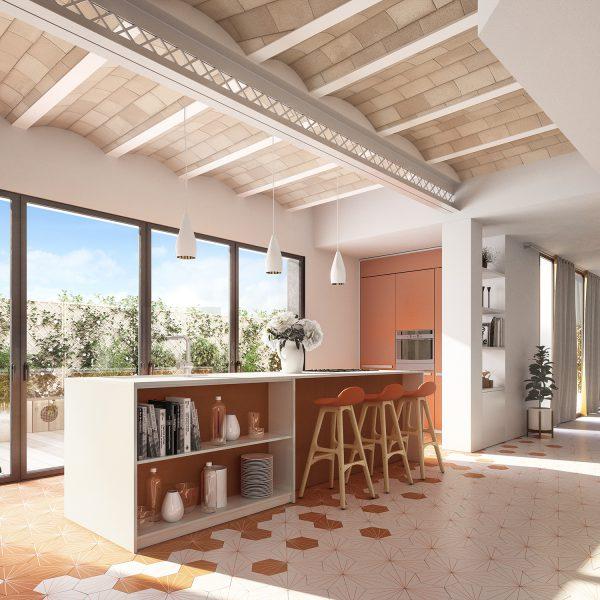 apt9 cocina B v07 1 600x600 - La unión de historia y lujo en pleno centro de Barcelona