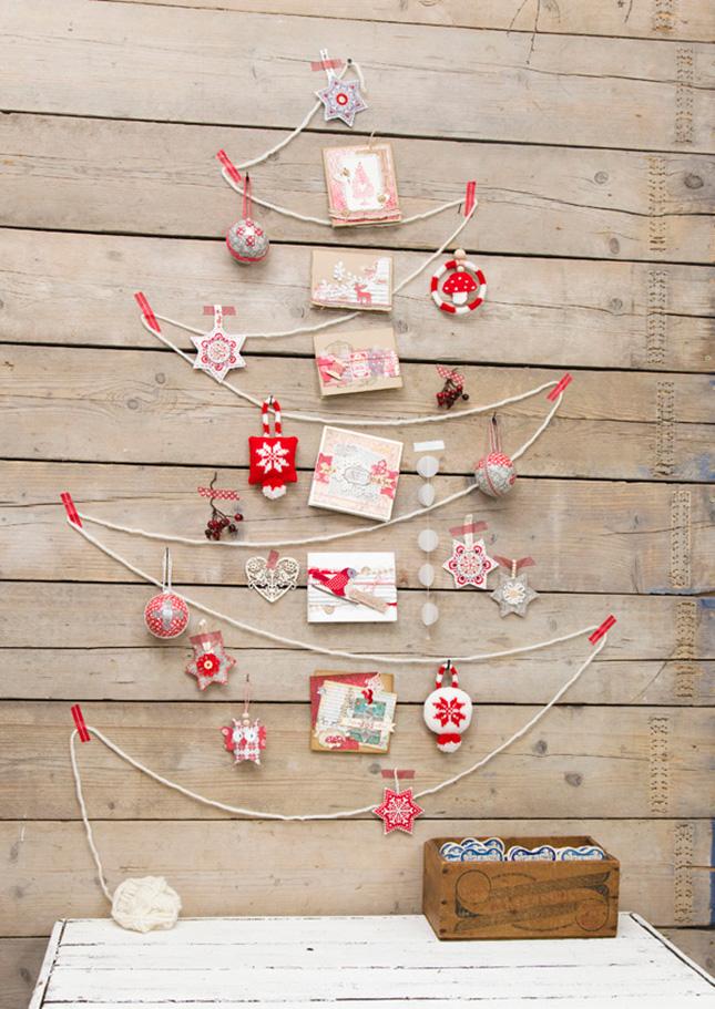 arbol cuerda navidad - Árboles de Navidad para las paredes de casa: un toque de originalidad