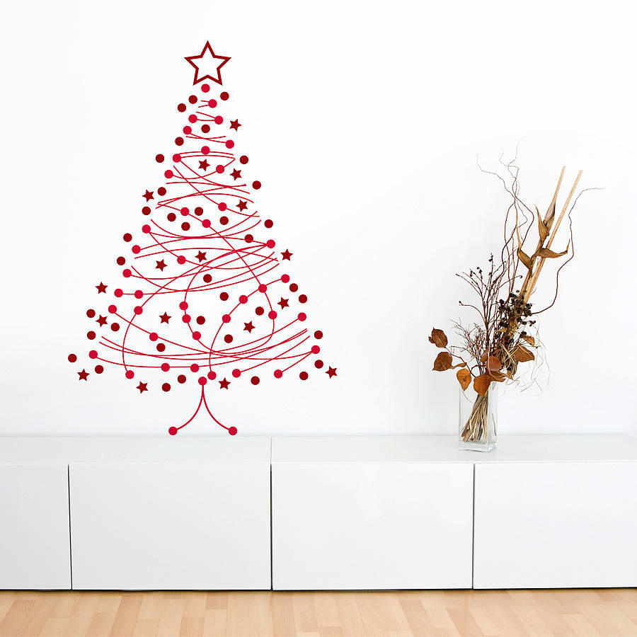arbol navidad vinilo - Árboles de Navidad para las paredes de casa: un toque de originalidad