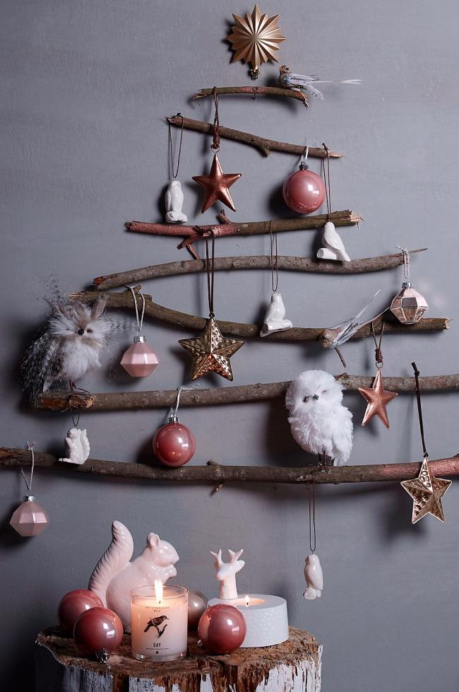 arbol ramitas navidad - Árboles de Navidad para las paredes de casa: un toque de originalidad