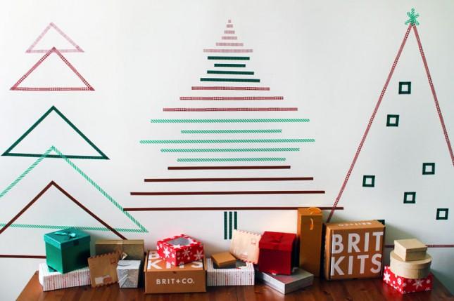 arbol washi navidad1 - Árboles de Navidad para las paredes de casa: un toque de originalidad