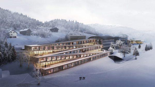 audemars piguet hotel des horlogers big dezeen 2364 hero 852x479 600x337 - Este hotel cuenta con un pista de esquí en el techo y se desarrollará en Suiza por Bjarke Ingels Group