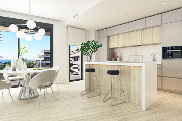 cocina 86 - Moderno apartamento en Málaga, primera línea de playa