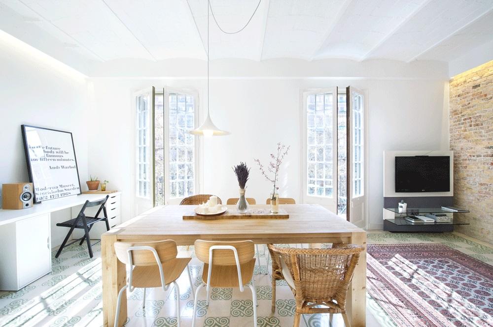 comedor5 - 75 metros de elegante armonía, amplitud y luz en un apartamento de Barcelona