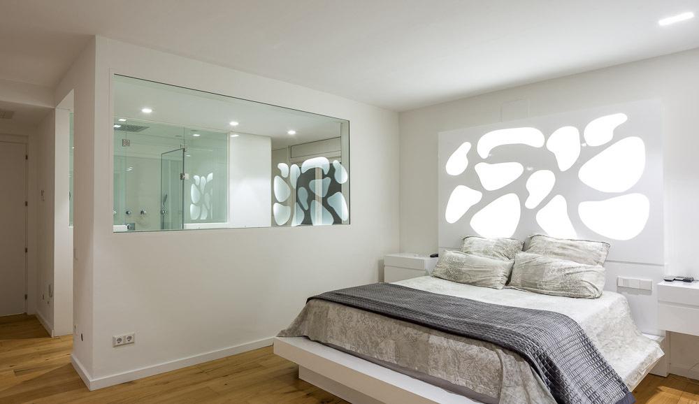 dormitorio 85 - Casa en Alella (Barcelona), de diseño minimalista y piscina primaveral