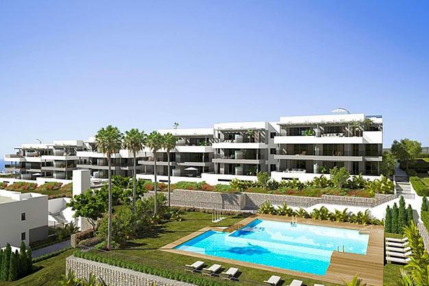 edificio estepona - Apartamento de lujo en Estepona con jardín privado y vistas al mar: todo en uno