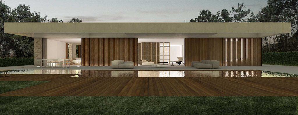exterior nocturna 4 1024x398 - En La Cañada, casa contemporánea y minimalista a 5 km de Valencia