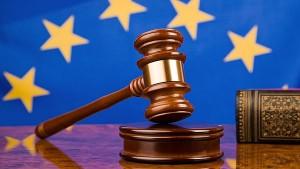 Judge's gavel and European Union flag