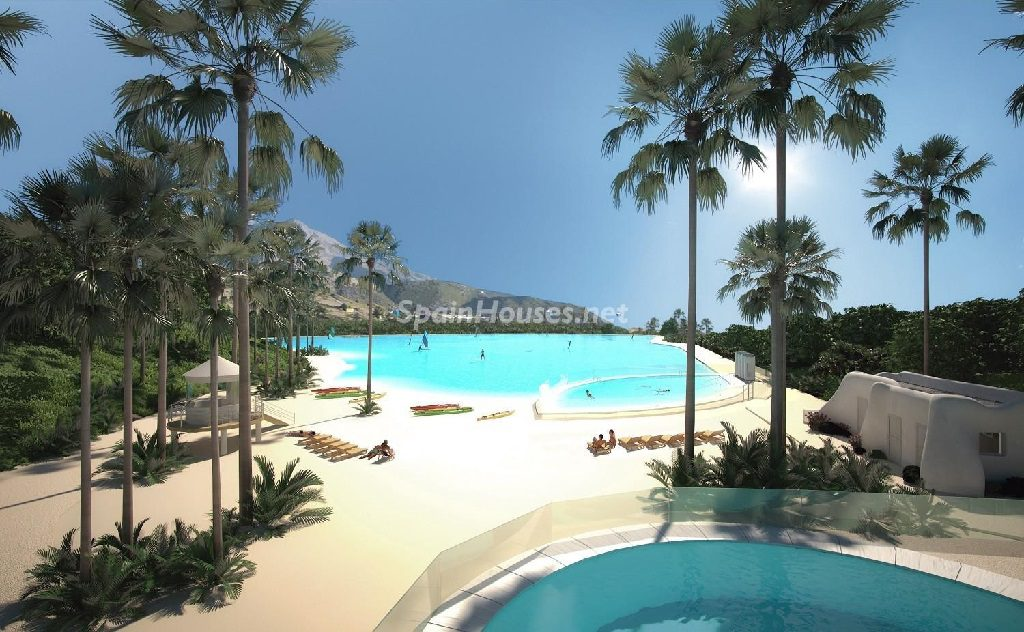 laguna2 1024x632 - Crystal Lagoons, Casares (Málaga): Apartamentos en 1ª línea de playa, a 10 km del mar