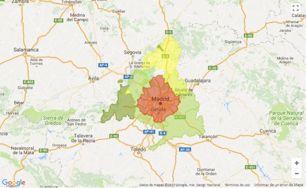 mapa madrid 600x369 - Zonas clave para invertir con éxito en una vivienda en Madrid