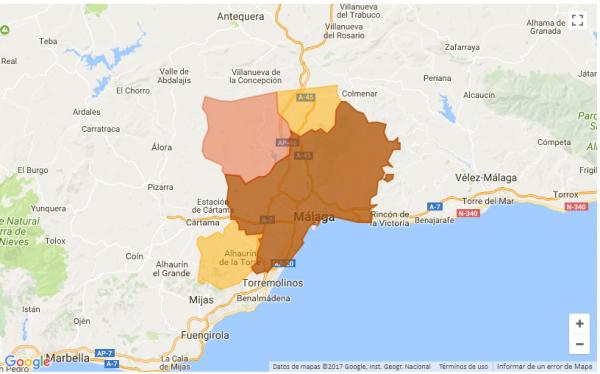 Mapa precios capital Málaga