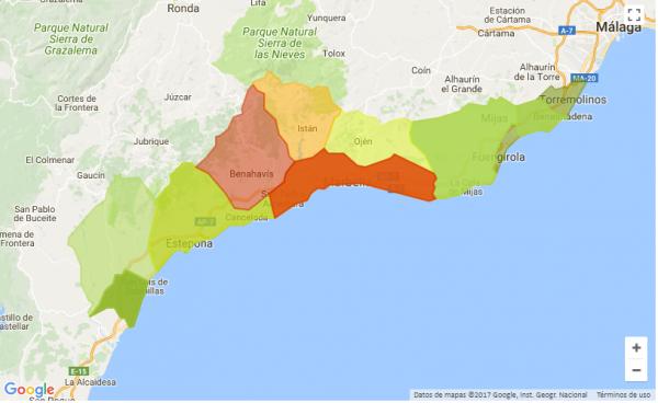 mapa marbella 600x368 - Vivir en la capital malagueña es más barato que en los pueblos de la Costa del Sol