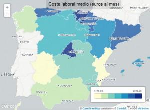 mapa salarios 300x221 - Economía y empleo en 5 mapas: ¿Qué ciudad tiene más parados, dónde hay más ocupación?