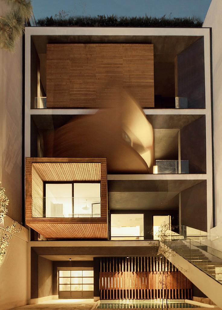nocturna7 735x1024 - Casa Sharifi-ha, una fantástica vivienda que gira buscando el sol