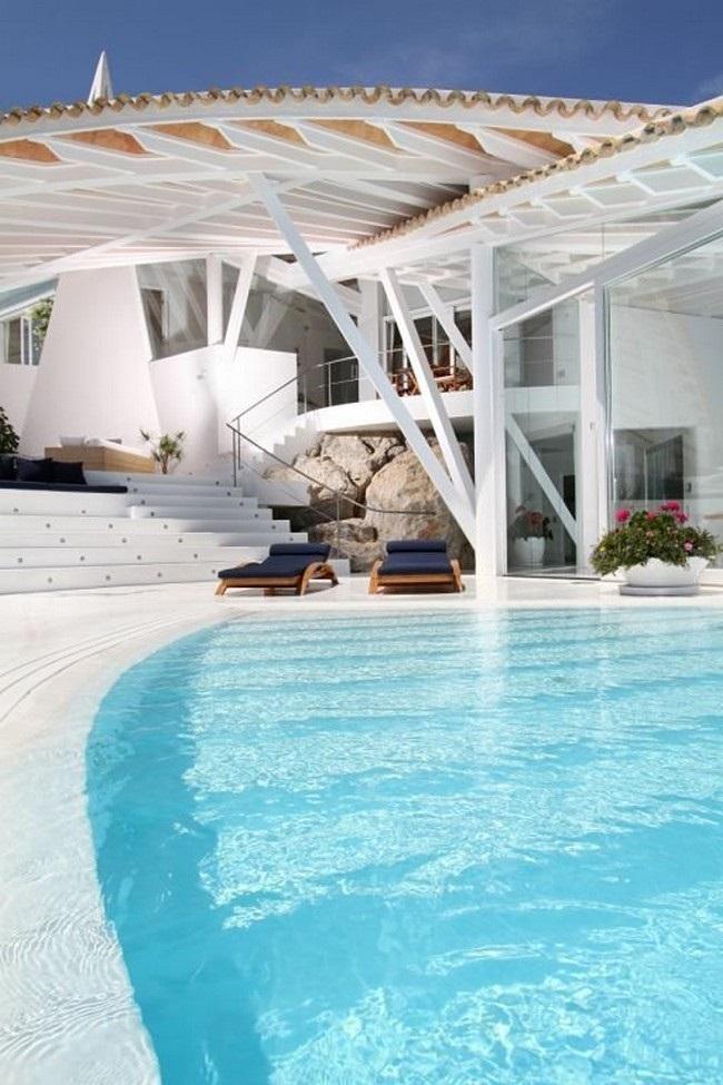 piscina exterior porche - Espectacular villa en Puerto de Andratx (Mallorca), con un fantástico diseño de gaviota