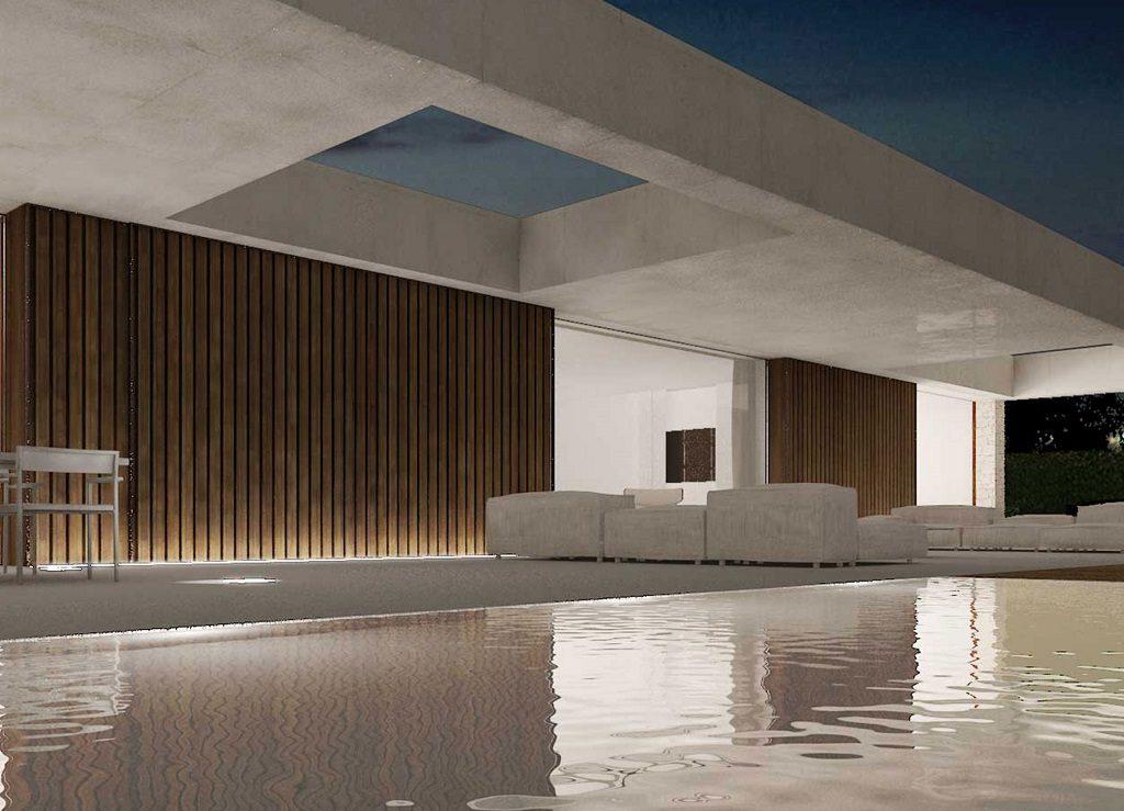 piscina nocturna 3 1024x739 - En La Cañada, casa contemporánea y minimalista a 5 km de Valencia