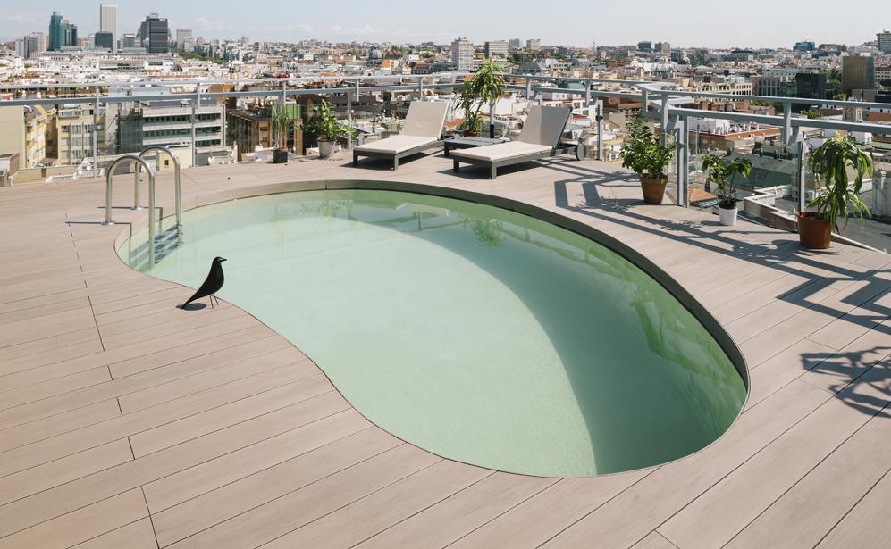 piscina tumbonas - Espectacular ático con piscina en Chamberí: como un chalet bajo el cielo de Madrid