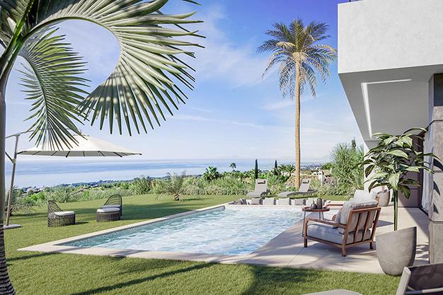 piscina y vistas - Villa de lujo en Málaga: diseño moderno con vistas al Mar Mediterráneo