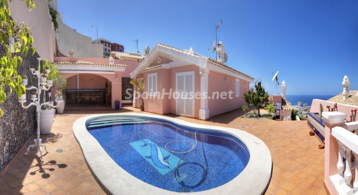 piscina23 - Bonita casa con encanto y estupendas vistas al mar en Costa Adeje, Tenerife (Islas Canarias)
