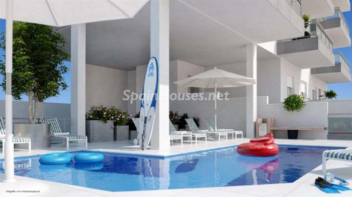 piscina28 - Bonito piso de nueva construcción en Santa Pola, Calas Santiago Bernabéu (Costa Blanca)
