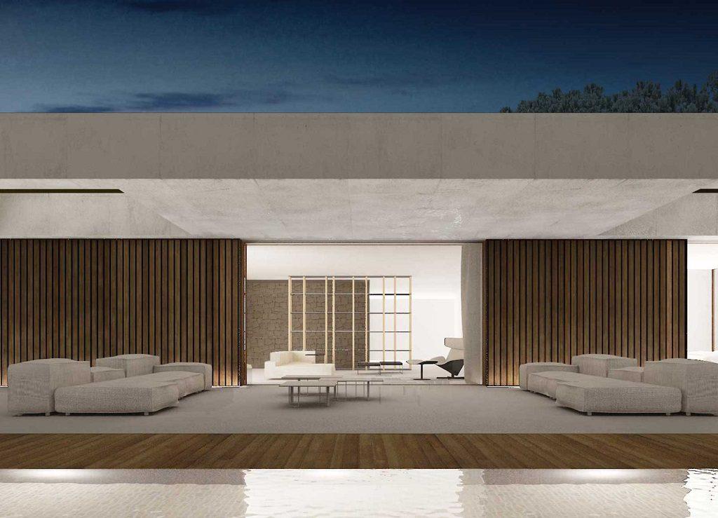 porche nocturna 1024x739 - En La Cañada, casa contemporánea y minimalista a 5 km de Valencia