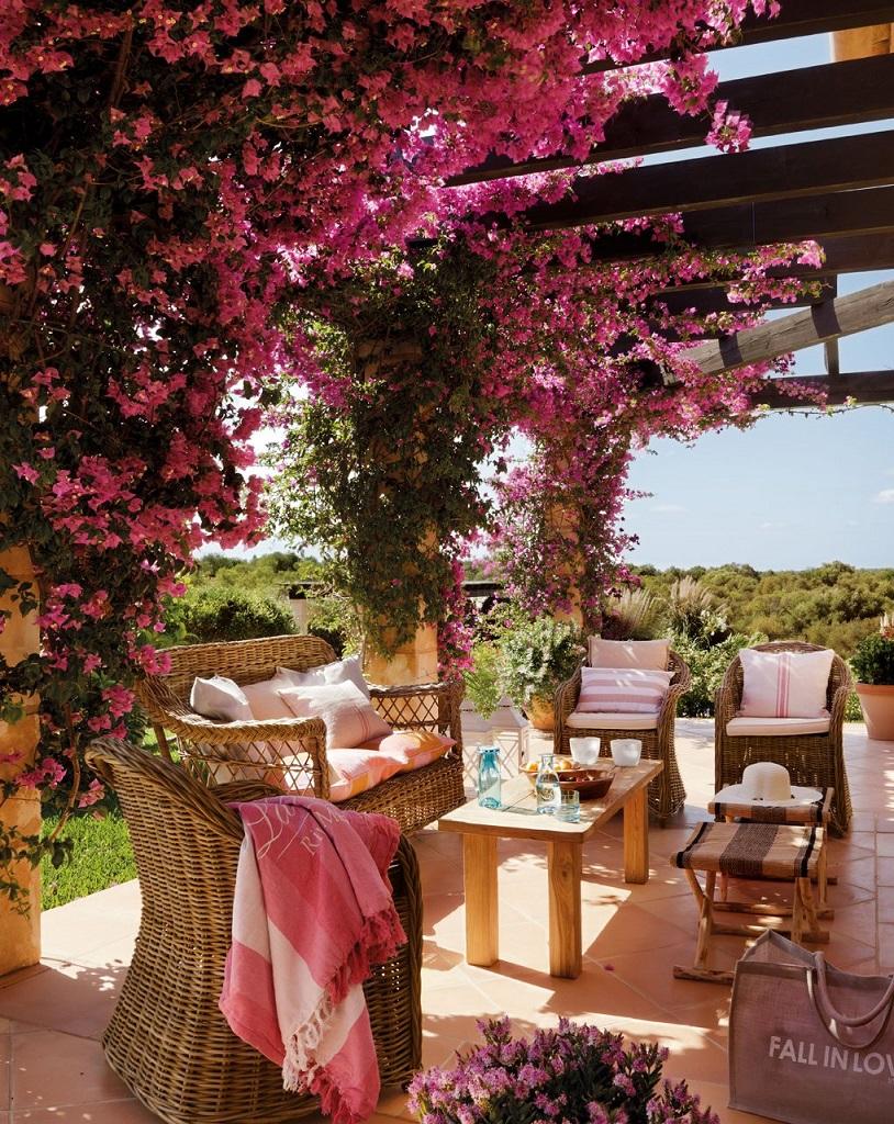 porche15 - Paraíso de luz y buganvillas en una preciosa casa en Santanyí (Mallorca, Baleares)