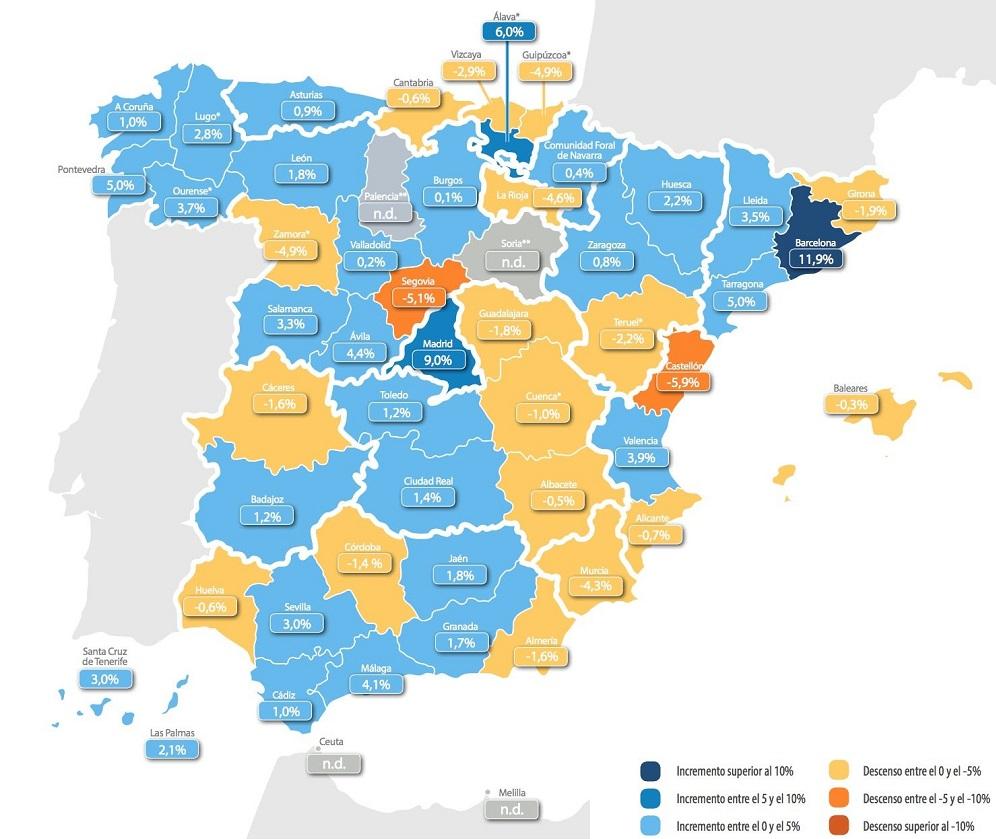 Mapa provincia de evolución de precios de la vivienda en España - Tinsa