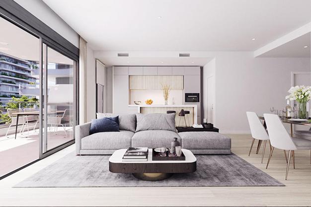 salón 1 2 - Moderno apartamento en Málaga, primera línea de playa