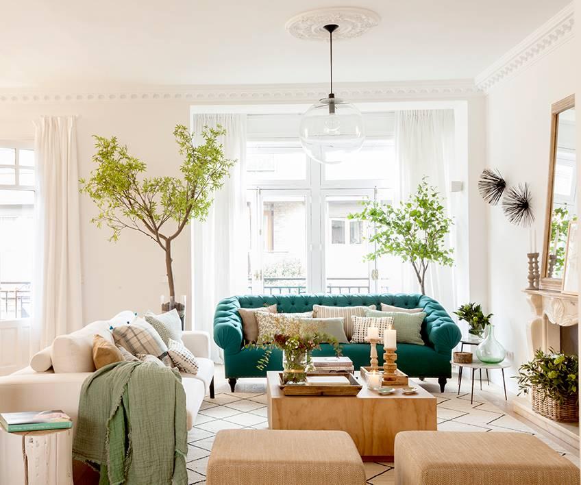 salon con sillon verde y arbolitos a los lados 00452030 o 82905ea2 848x708 - Tendencias en decoración 2019