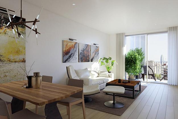 salon piso lujo barcelona - Este apartamento de lujo en Barcelona lo tiene todo: amplitud, ambientes modernos y terraza privada