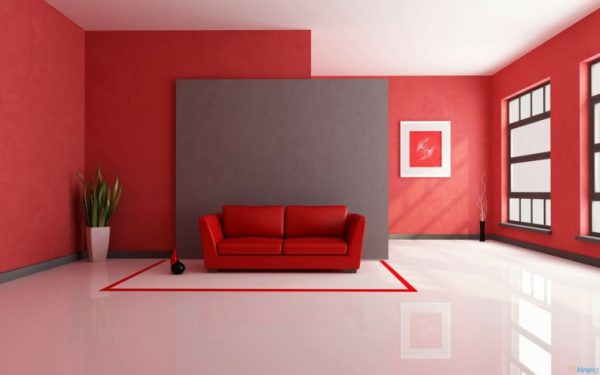 salon rojo muro gris 600x375 - ¡Los colores neutros se han ido! El rojo es el nuevo color de 2018