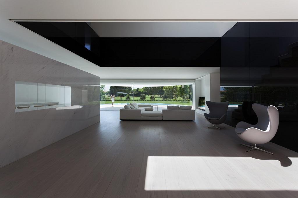 salon128 - Espectacular casa de diseño elíptico en el campo de golf de Bétera, Valencia