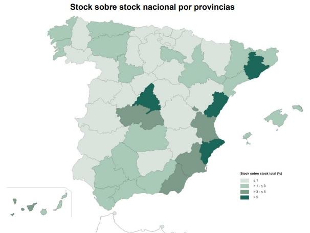 Mapa provincial del stock de vivienda en España en 2016 - Ministerio de Fomento
