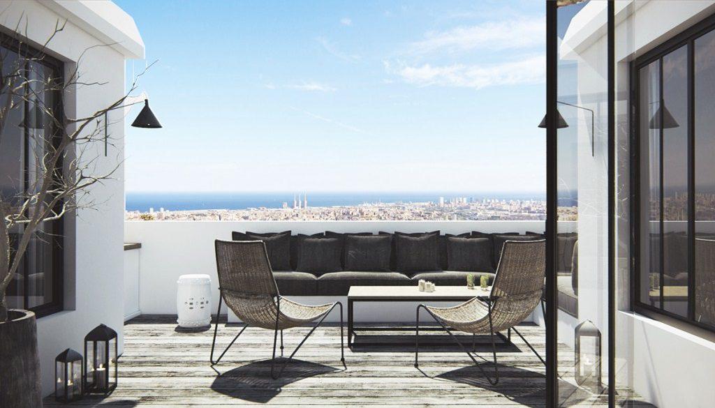 terrazayvistas 7 1024x585 - Diseño nórdico en blanco y negro en un cálido ático en Sant Gervasi, Barcelona