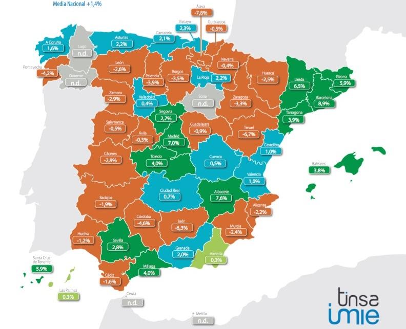 tinsa 1trim2016 precios - El precio de la vivienda sube un 1,4% en el primer trimestre, y se dispara en Barcelona y Madrid
