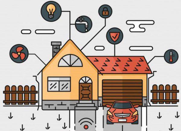 vector linea de arte ilustracion abstracta casa inteligente controlando a traves de equipos de trabajo en casa de internet 1441 217 e1519297744503 600x435 - Cómo introducir la domótica en tu hogar