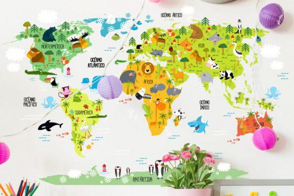 vinilo infantil mapamundi animal 11281 585x390 - Decoración: Ideas para decorar con vinilos